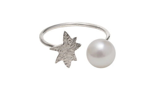 Coco De Mer Palm To Pearl Ring, Silver