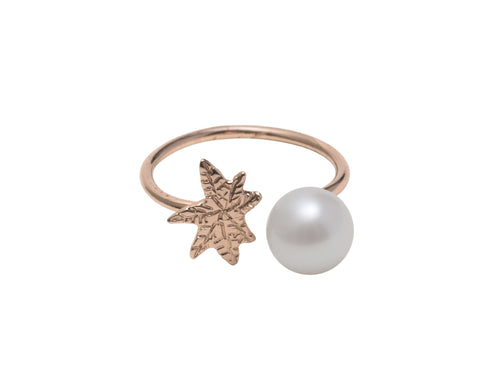 Coco De Mer Palm To Pearl Ring, Rose Gold