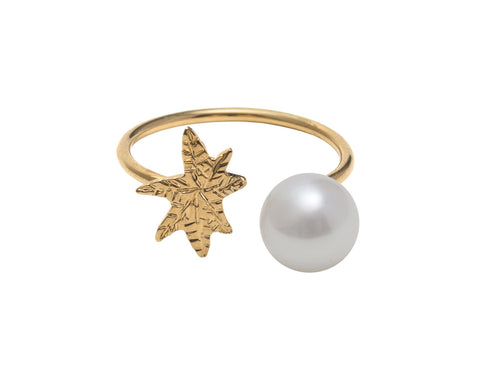 Coco De Mer Palm To Pearl Ring, Gold