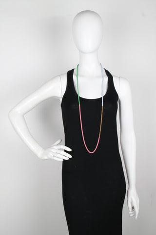 Dipped Chain Necklace, WaterMelon/Burgundy/Pink