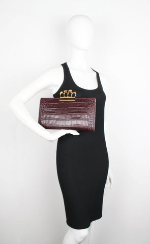 Knuckle Flat Clutch Croc (G), Burgundy