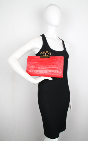 4 Ring Clutch Large Croc, Red/Gold