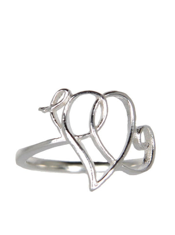 Heart Scroll Ring Silver
