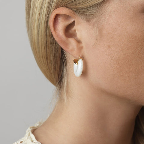 White Swell Hoop (pair)