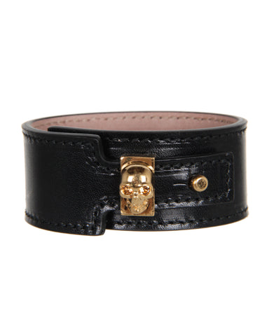 Large Buckle Skull Bracelet, Black