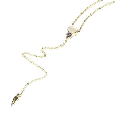 Levitation Lariat, Gold w/ Moonstone