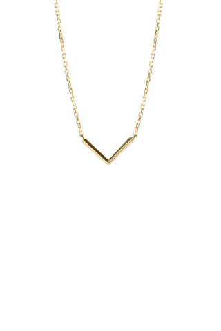 Check Necklace, Matte Gold