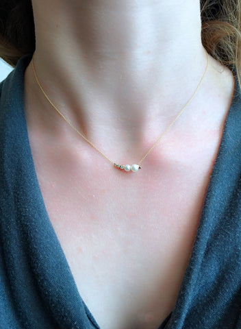 Lune Perle et Diamant Necklace