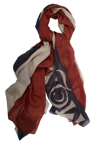 GSMQ Scarf Pashmina, Navy/Red/Cream