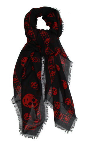 Pashmina Skull Scarf, Black/Red