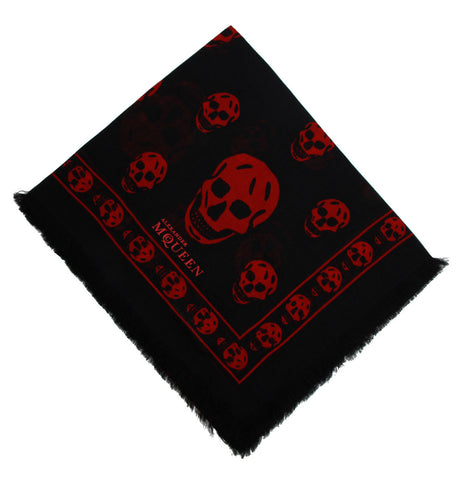Classic Skull Scarf Pashmina, Black/Red