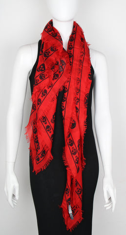 Pashmina Skull Scarf, Lacquer Red/Black