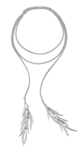 Pave Prickle Lariat, Silver