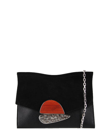 PS Small Curl Chain Clutch Grain/Suede, Black