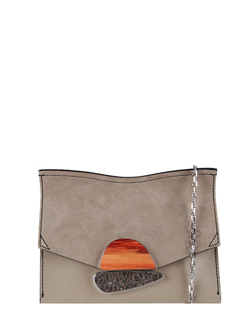 PS Small Curl Chain Clutch Grain/Suede, Taupe