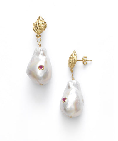 Baroque Pearl Shell Earrings, Ruby