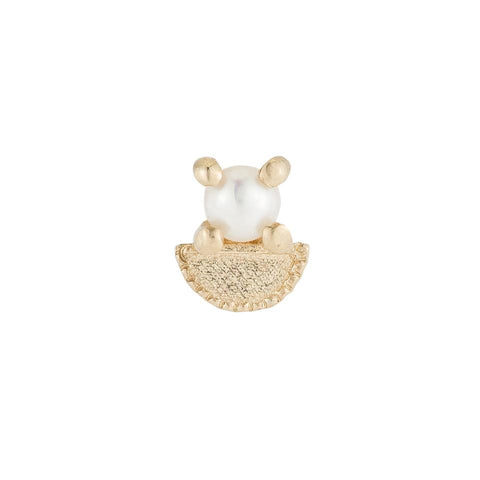 Pearl Half Moon Stud (single), Gold