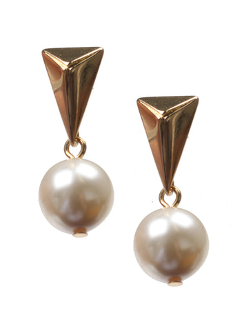 Small Pyramid Earrings w/pearl, Gold