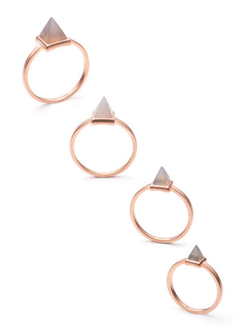 Stackable Gemstone Pyramid Ring Set
