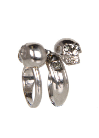 Twin Skull Spiral Ring