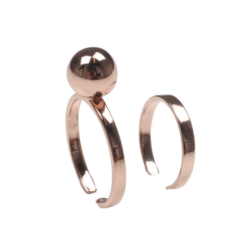 Small sphere & midi ring set, Rosegold