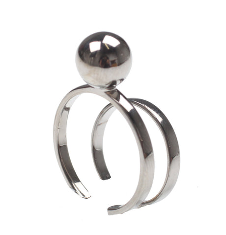 Small sphere & Midi ring set, Ruthenium