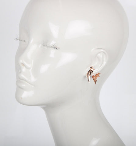 Wing Reverse Earring, High Polished Rose Gold