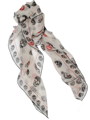Kisses Silk Chiffon Scarf, Ivory/Black