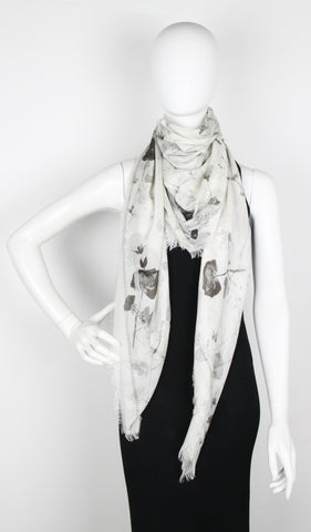 Black Magic Modal Scarf, Ivory/Grey
