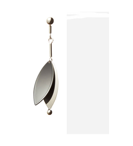 PS Small Leaf Earrings, Silver/ Black