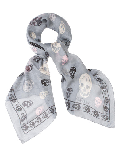 Tri-colour Grey Silk Skull Scarf Cream/Black/Light Pink