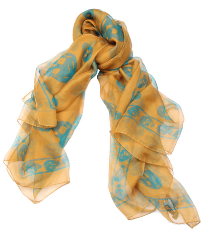 Silk Skull Scarf, Gold/Turquoise