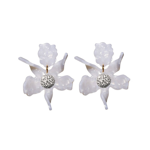 Small Crystal Lily Earrings, Mother of Pearl