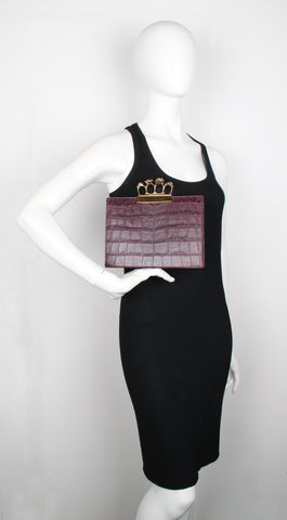 4 Ring Clutch, Croc (G), Dark Purple