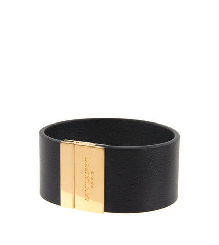 YSL Thick Plaque Bracelet, Black/Bronze