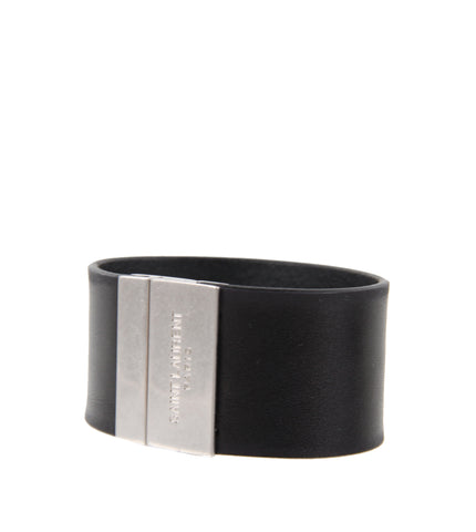 YSL Thick Plaque Bracelet, Black/Silver