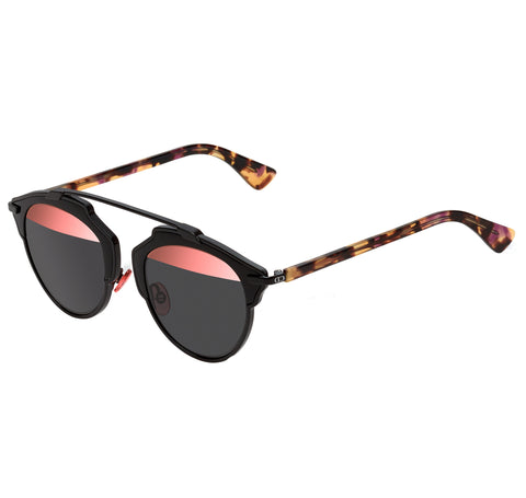 Dior So Real Sunglasses, Black w/ Rose Top