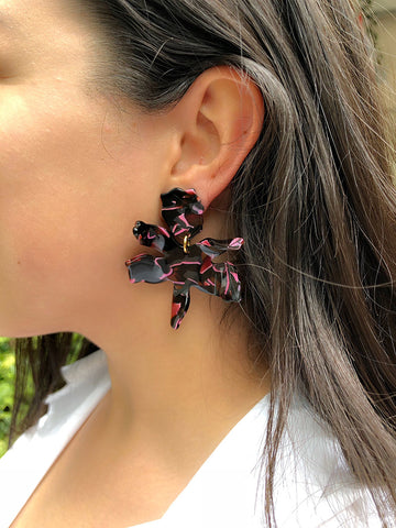 Small Lily Earrings, Black Cherry