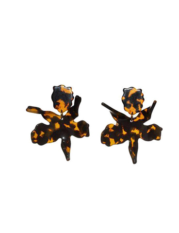 Small Lily Earrings, Tortoise