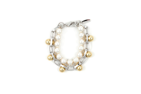 Single Row Sphere Bracelet w/pearls, Rhodium/Gold