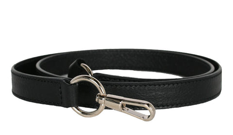 Black Bag Strap with Silver Hardware