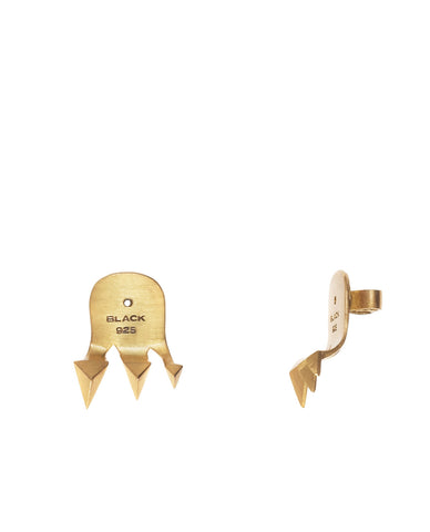 Shark Reverse Earring, Matte Gold