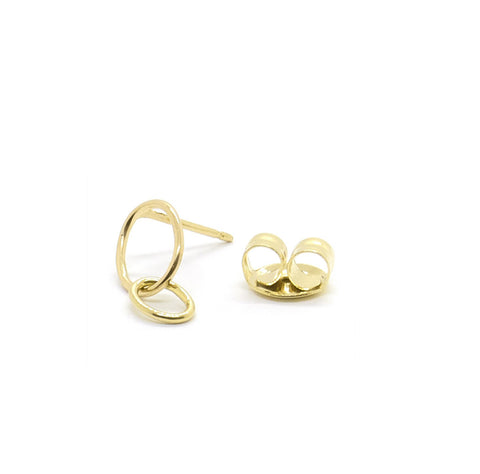 Loop Oval Stud, 9k Gold (single)