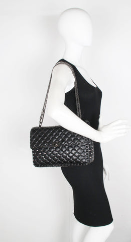 Spike Large Shoulder Crackle leather, Black/Gun Metal