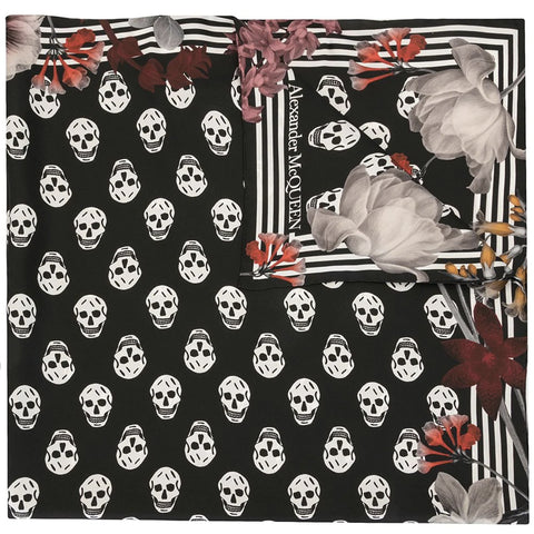 Biker Night Flower Scarf Pashmina, Black/Ivory