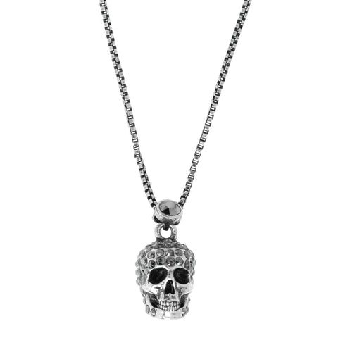 Pave Skull Necklace, Silver