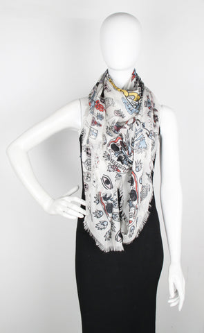 Underwater Sea Scarf, Ivory/Black
