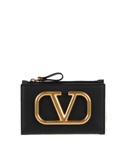 VLogo Bi-Fold Coin/Card Case, Black