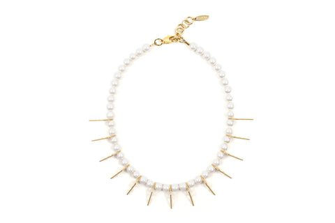 Pearl Necklace w/small triangles, Gold