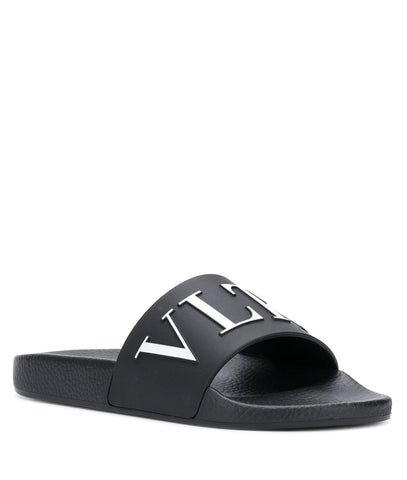 VLTN PVC Slides, Black/White